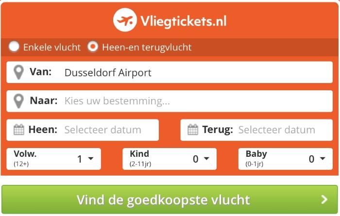 Vliegtickets.nl zoekformulier